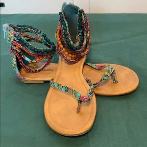Beautiful beaded ankle strap + floral sandals